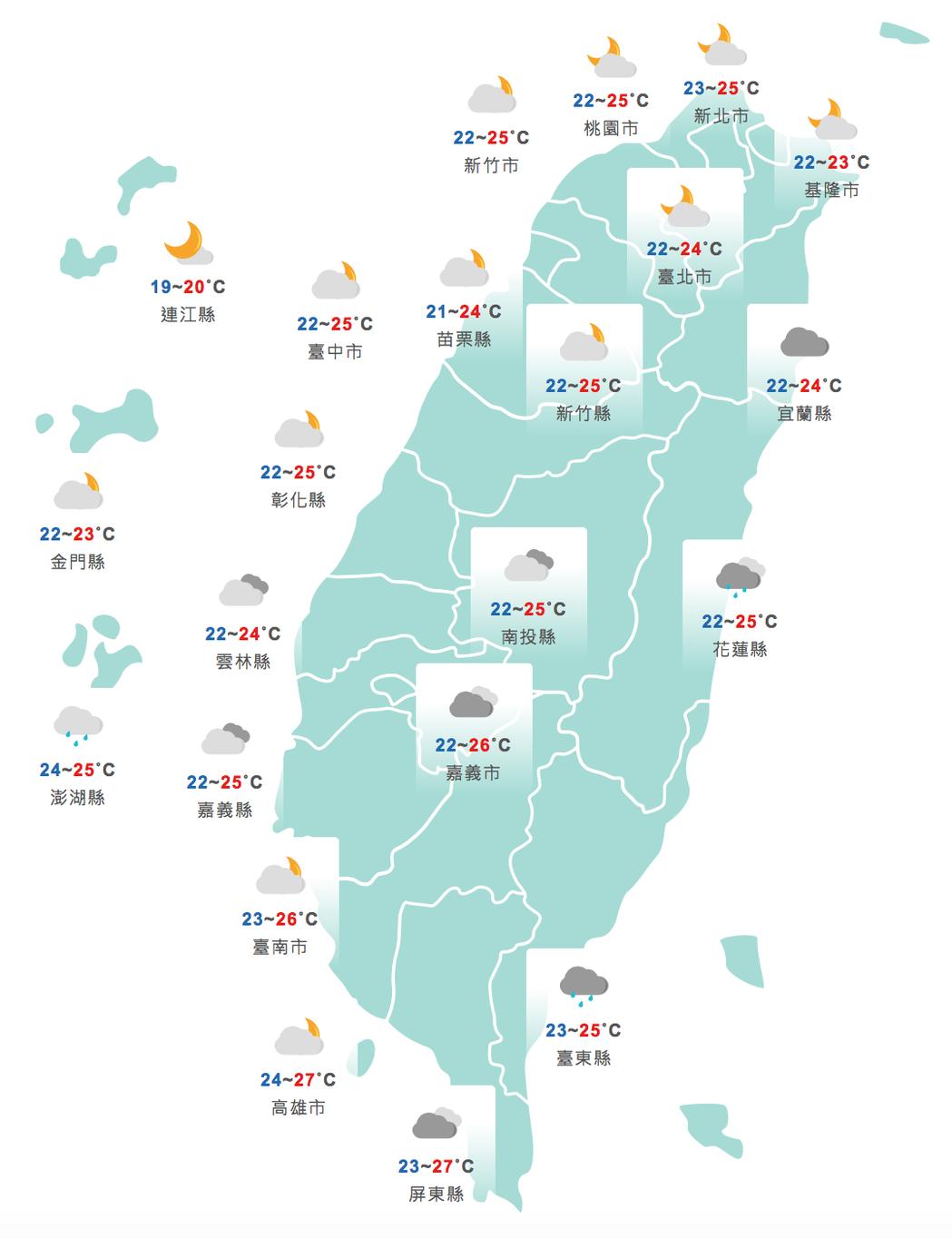 今天各地中午前後天氣悶熱。圖/取自中央氣象局網站