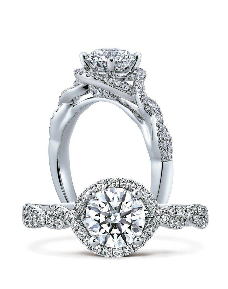 INTERLACE鑽石戒指,鉑金鑲嵌主鑽1克拉起,53萬4,000元起。圖/HE...