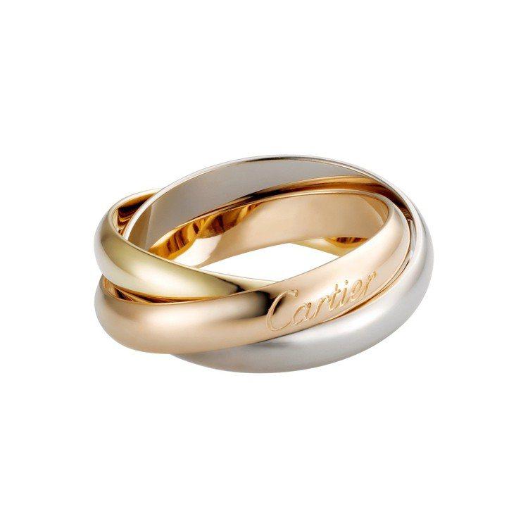 Trinity系列經典款戒指,白K金、黃K金、玫瑰金,41,100元。圖/卡地亞...