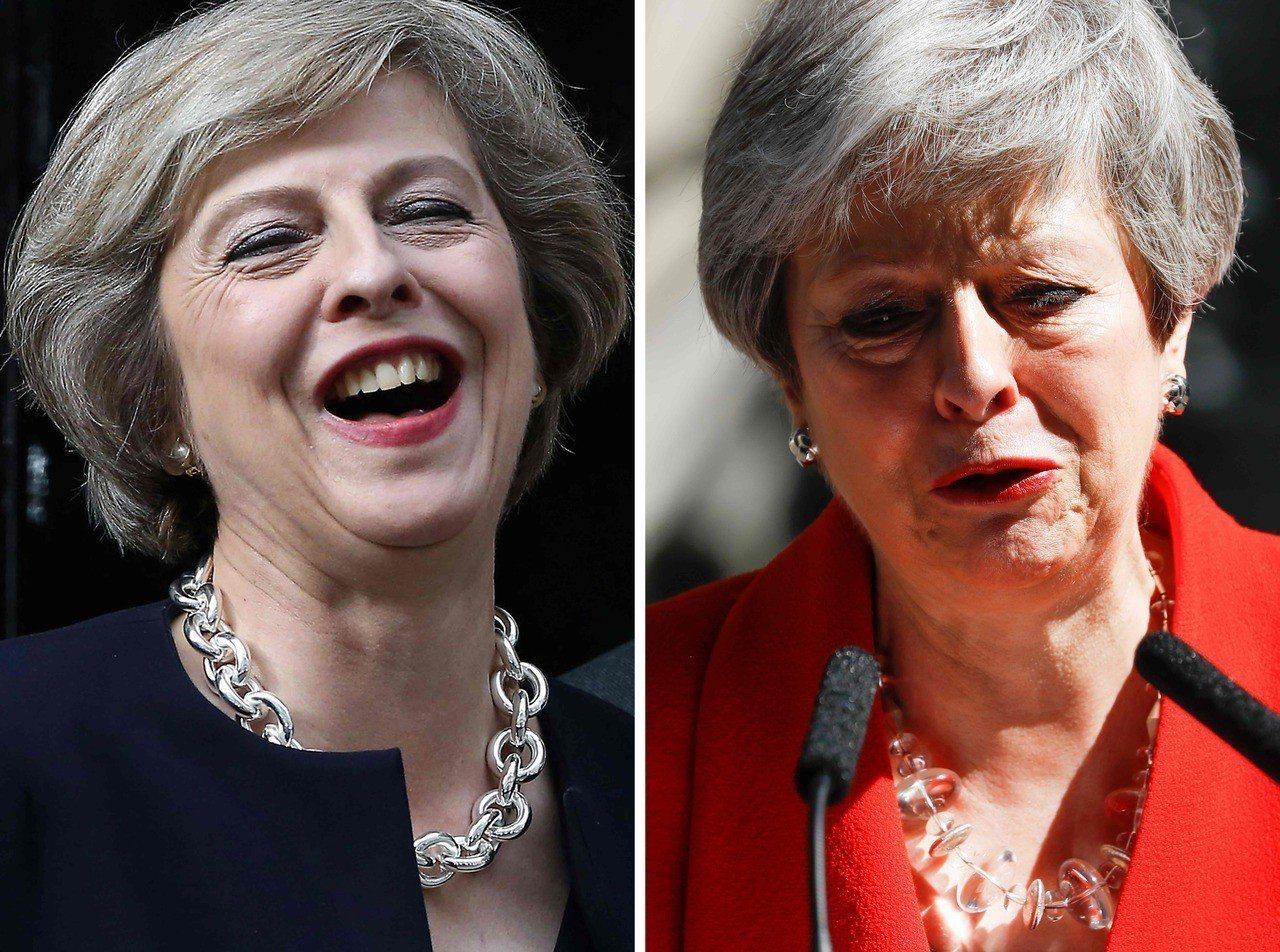 英國首相梅伊三年前因脫歐登上大位(左),三年後因脫歐不力黯然下台(右)。法新社