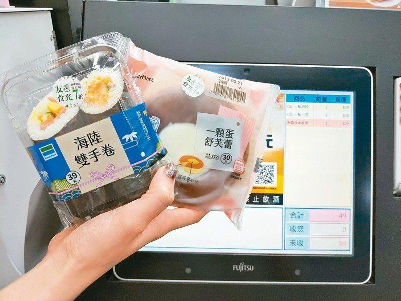 全家便利商店推出「友善食光」機制,鮮食商品效期前7小時即自動折扣變價。 圖/全家便利商店提供