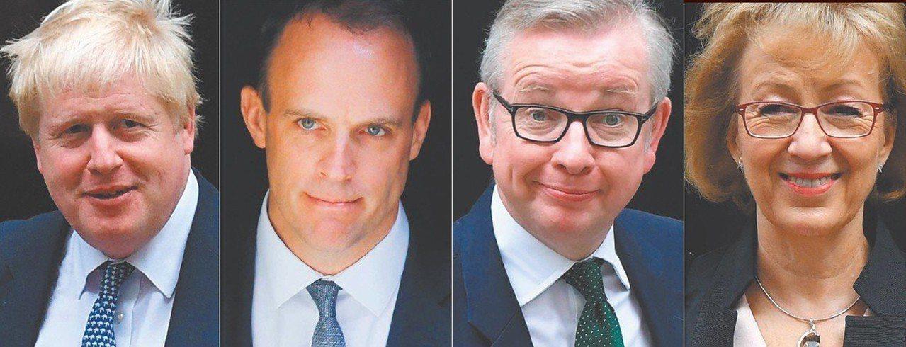 下任英相可能人選風雲榜。左一至右分別為英前外相強生、前脫歐大臣拉布、環境食品及農...