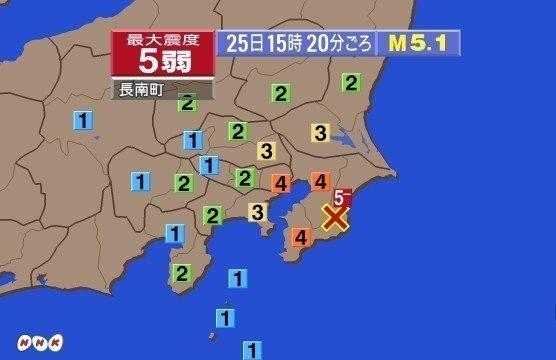 日本千葉縣今天發生推估規模5.1地震,這起地震並不會造成海嘯威脅。 圖擷自NHK