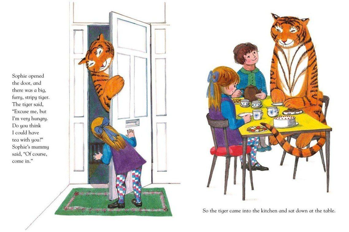 故事中的老虎,非常紳士有禮貌,他沒有張牙舞爪,但卻吃光了蘇菲家裡的所有食物,甚至...