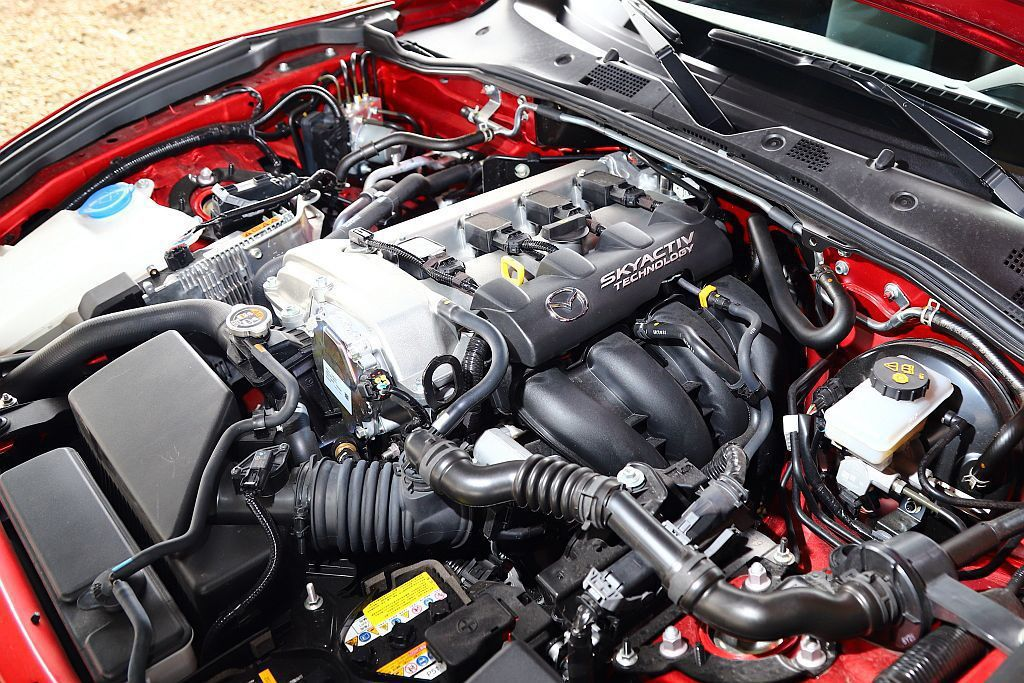新年式Mazda MX-5的Skyactiv-G 2.0L引擎再調校後,馬力提升...