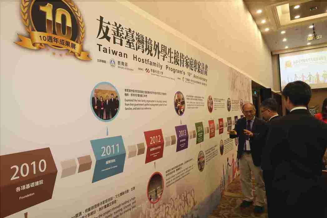 接待家庭專案計畫主持人南台科大副校長張鴻德(左)介紹專案計畫10年來各項成果。 ...