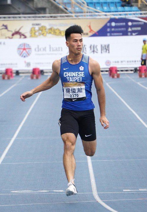 楊俊瀚預賽跑出10秒21個人本季最佳成績輕鬆晉級。記者劉肇育/攝影