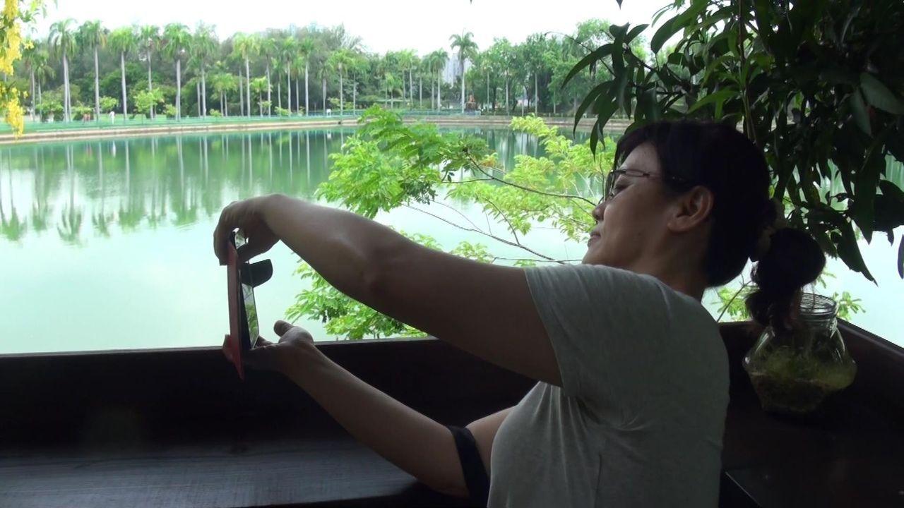 賞螢奇緣祕境面湖的吧台,可以觀賞湖景。記者王昭月/攝影