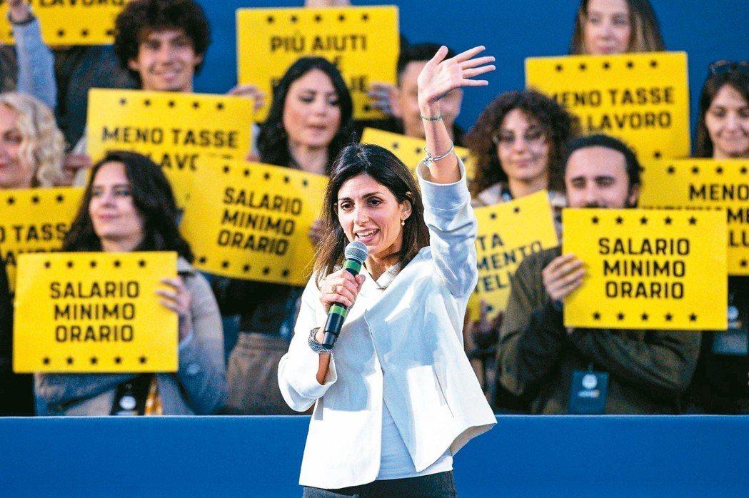 義大利羅馬市長拉吉廿四日在歐洲議會選舉的場子賣力輔選。 歐新社