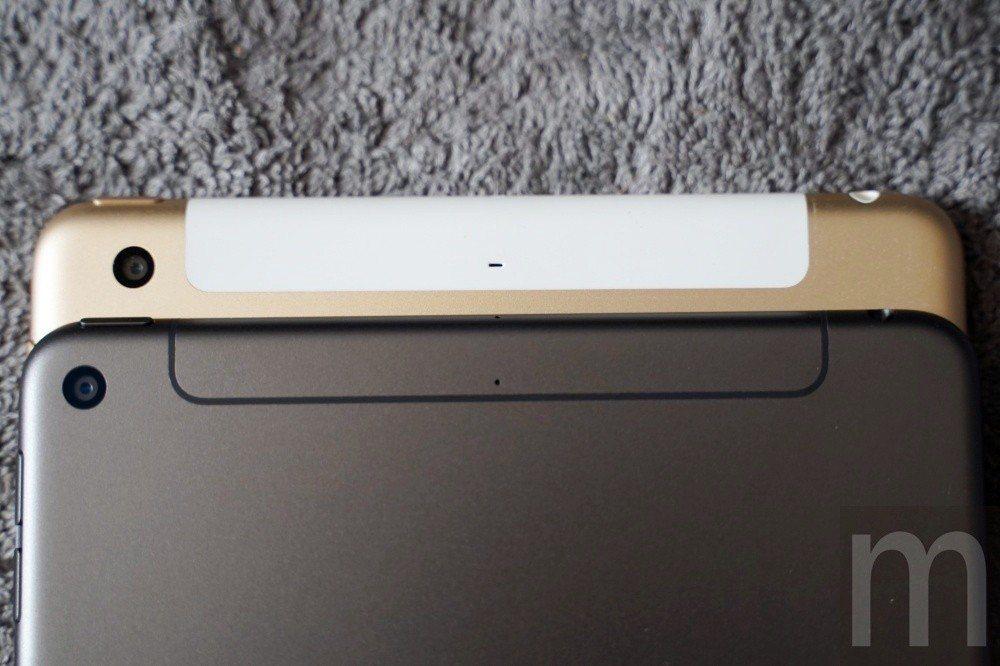 2019年款iPad mini (下)的天線填補層與背面主鏡頭設計,與先前推出的...