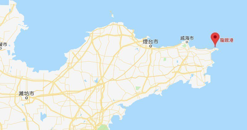 事發地點位於山東威海龍眼港(紅標示)。香港明報