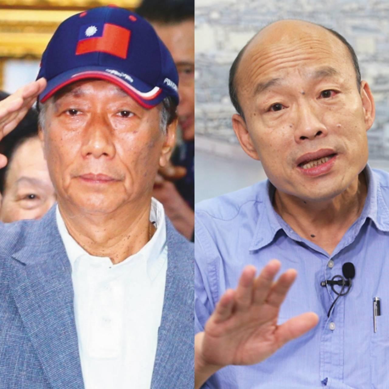 鴻海董事長郭台銘與高雄市長韓國瑜。本報資料照片合成
