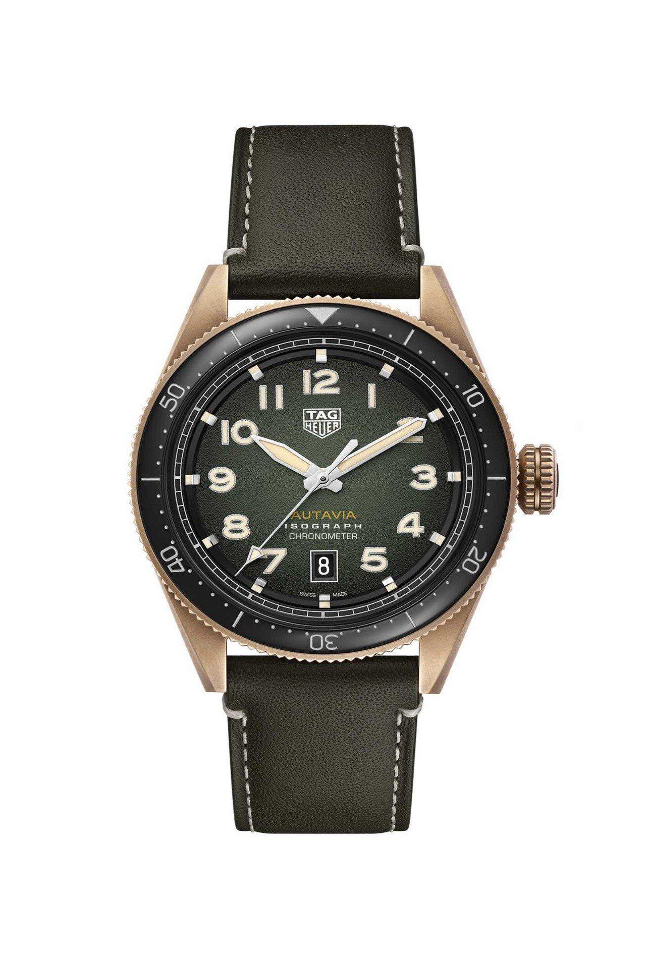 泰格豪雅Autavia系列腕表,青銅材質表殼,搭配黑色陶瓷雙向旋轉表圈,約14萬...