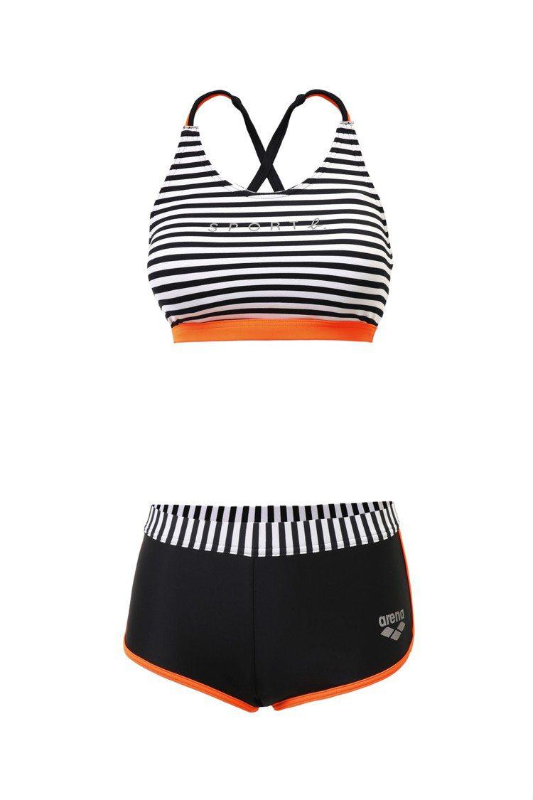 SPORT b. x arena 2019黑白條紋Bra Top運動型泳裝,3,...