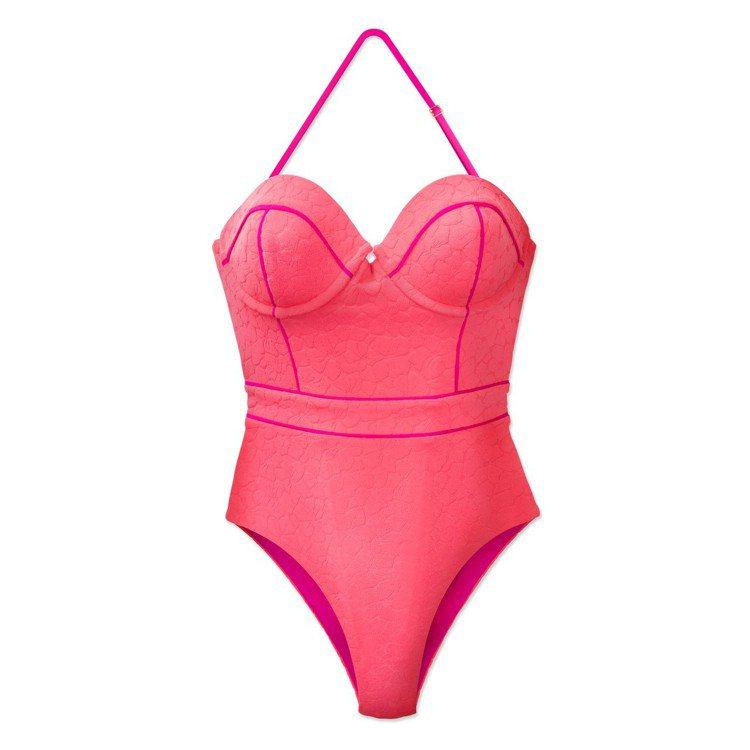 粉色連身泳裝低胸的設計與可拆式繞脖肩帶勾勒出上身性感輪廓,配有亮色滾邊,帶來額外...