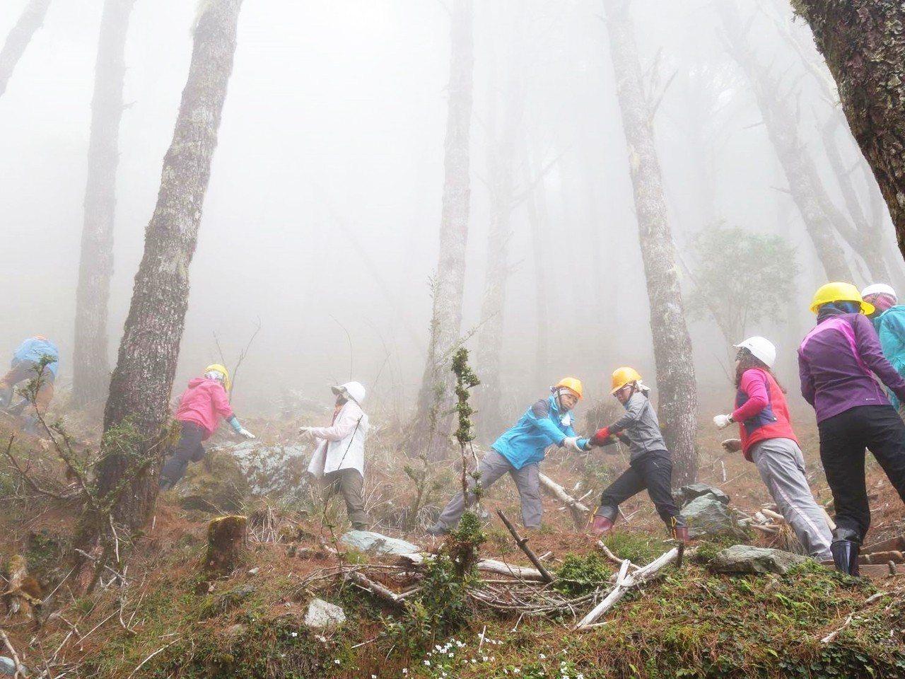 台東林管處自105年舉辦「嘉明湖手作步道工作假期」至今,年年吸引不少氏民眾參與。...