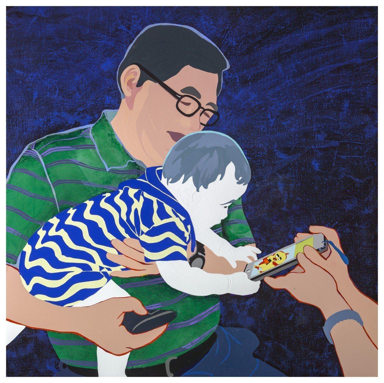 抱在爸爸手裡的娃娃,看到發出亮光的手機,馬上被吸引。這是林桂華「再訪虛擬之窗」畫...
