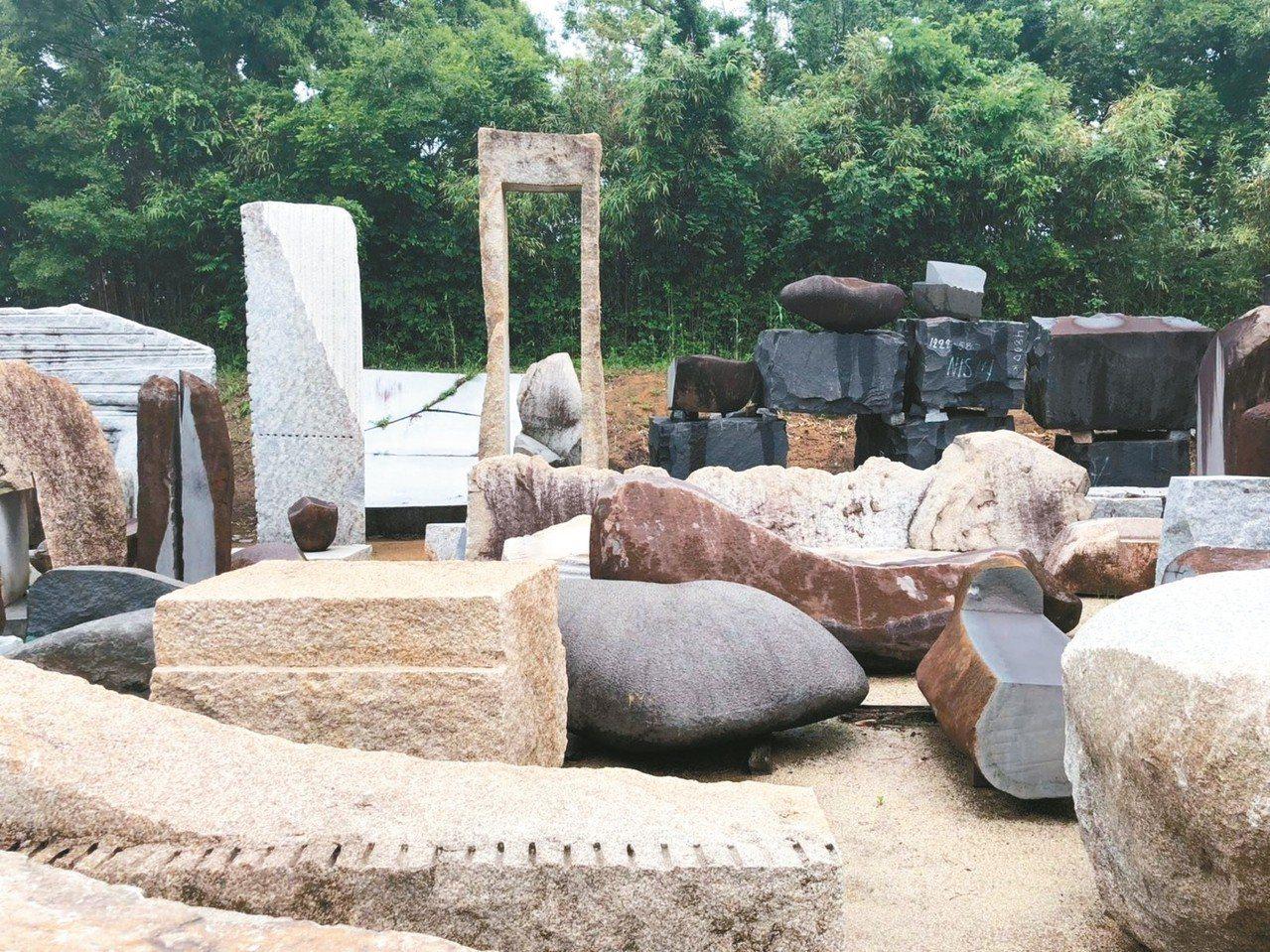 野口勇庭園美術館中錯落有致的石塊。 圖/陳瑞憲提供