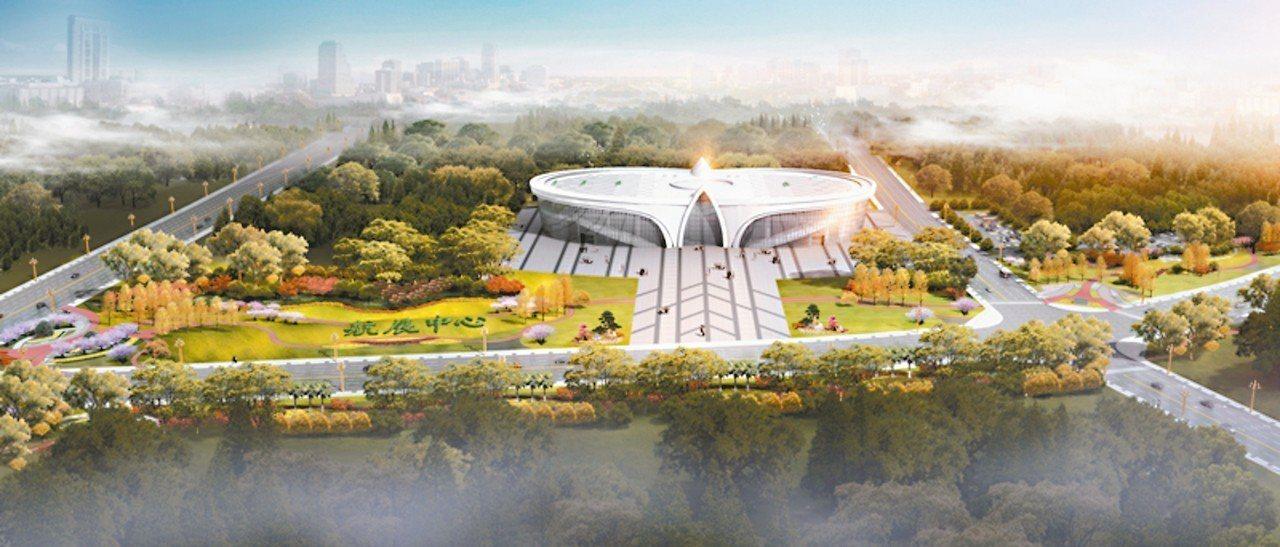四川航展會展中心,也是今年航展的主展館,圖為主展館全部落成後的藍圖。 圖/本報四...