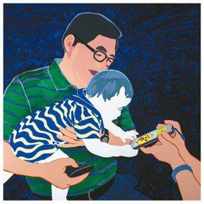 孩子眼球被3C產品吸引,是這時代的即景;圖為「再訪虛擬之窗」畫作。 圖/林桂華提...