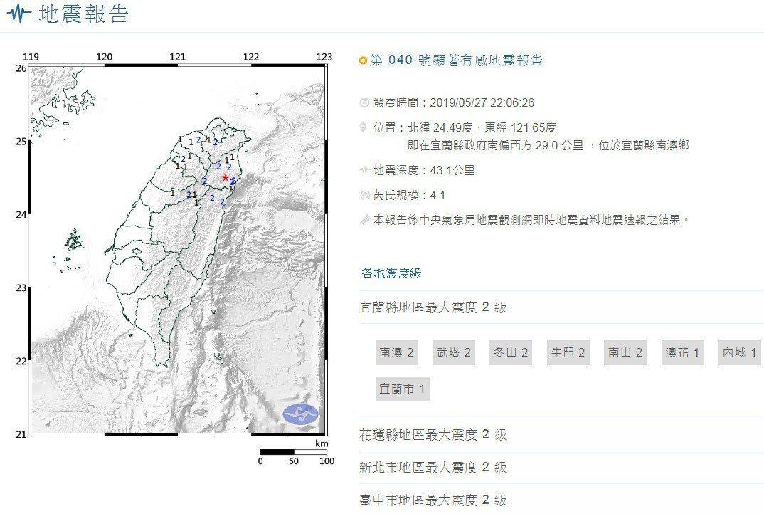 宜蘭發生規模4.1地震。圖擷自中央氣象局地震報告