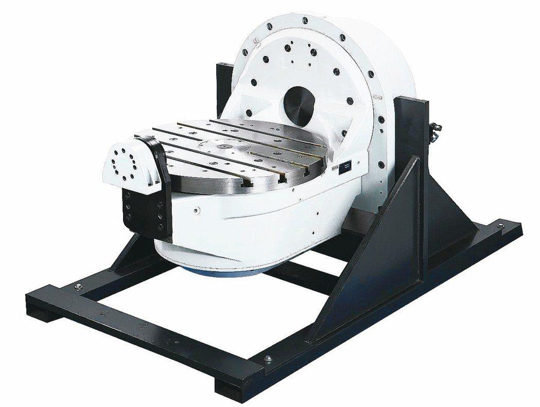 和昕公司因應航太元件推出的單臂五軸直驅分度盤。 和昕/提供