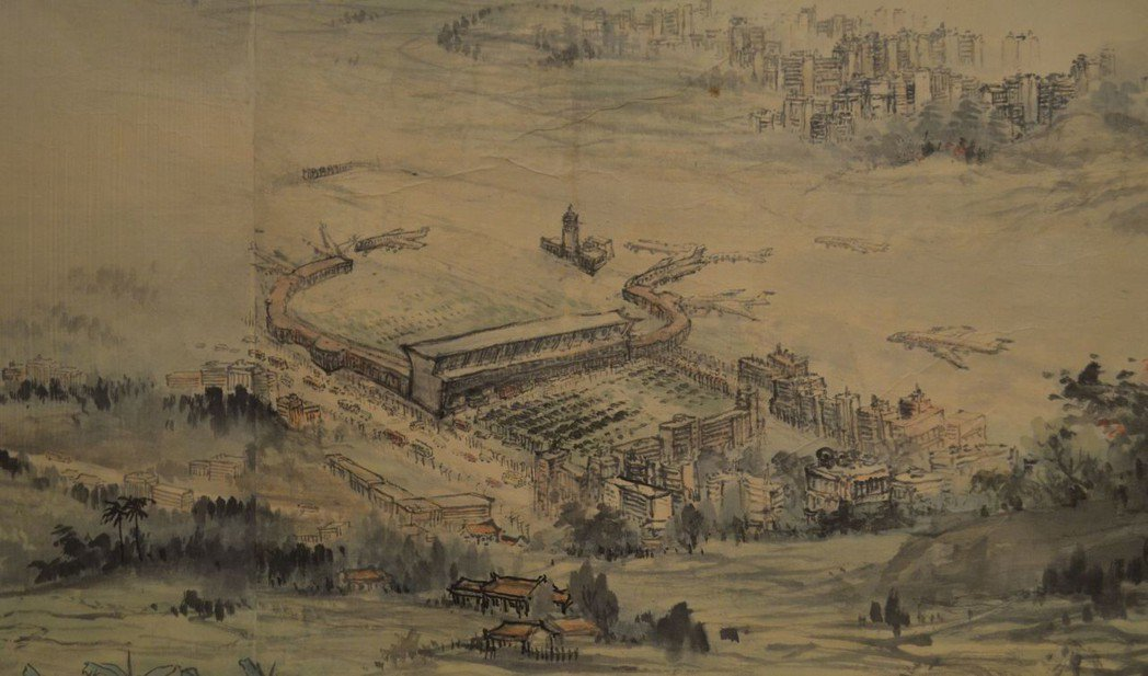 寶島長春圖描繪的桃園機場。  陳慧明 攝影