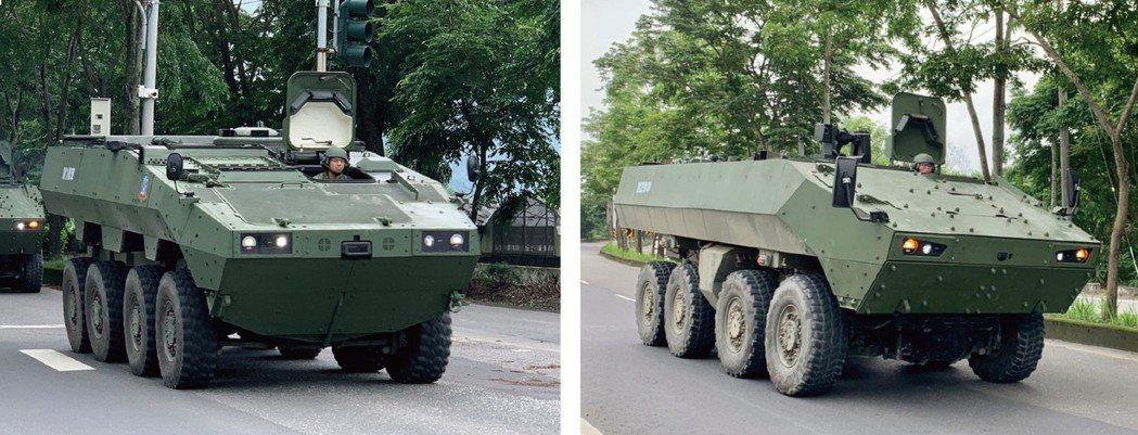 《點我看大圖》二代雲豹甲車原型的M1樣車(左)與M2樣車(右),車首造型與底盤高...