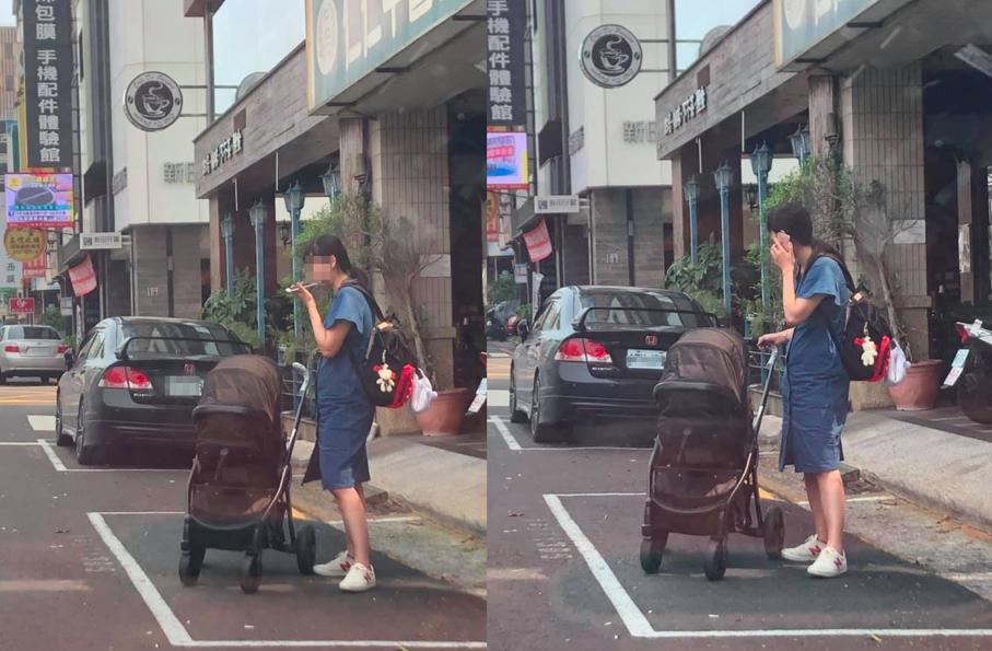 推著嬰兒車的婦人看到網友開車經過「「手比個❌」將他趕走。圖擷自 爆怨公社