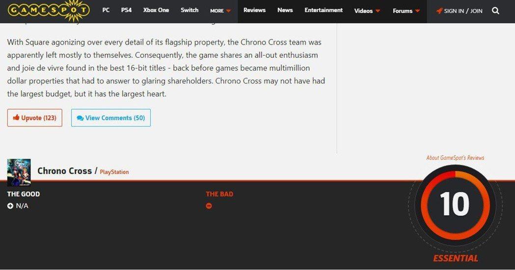 著名的外國遊戲媒體「Gamespot」給了《超時空之鑰:次元之旅》滿分 10 分...