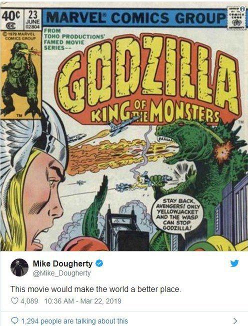 「哥吉拉II怪獸之王」導演麥可道格堤坦言想看「哥吉拉大戰復仇者聯盟」。圖/摘自推...