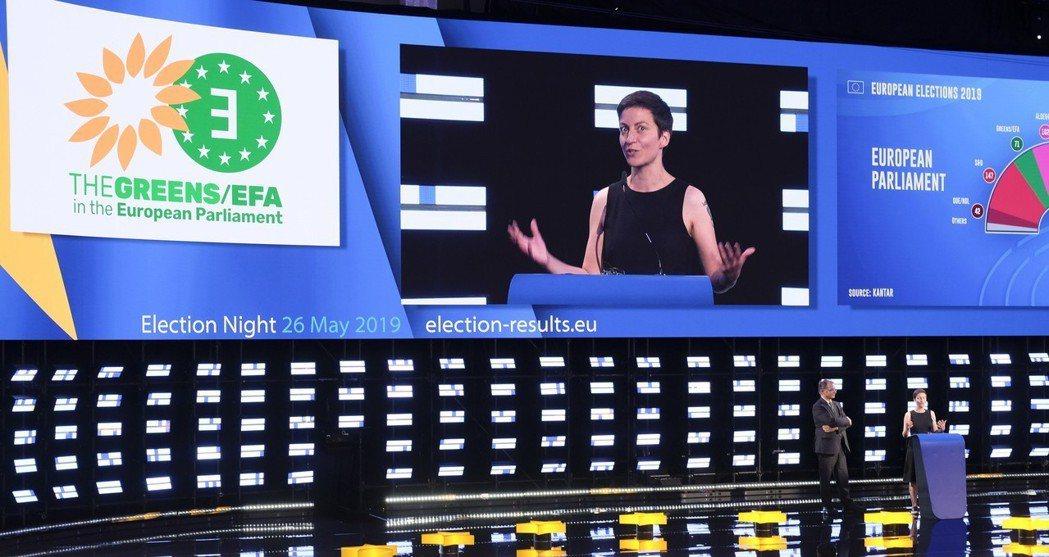 德國綠黨成員Ska Keller周日(26日)在布魯塞爾舉行記者會。  歐新社