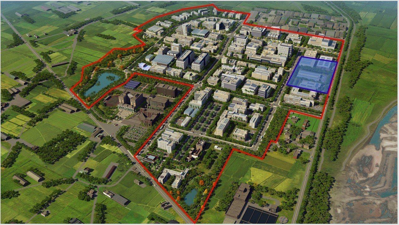 紅色框線為和發園區範圍,右上方藍色方塊為鴻海土地。圖/高市府提供
