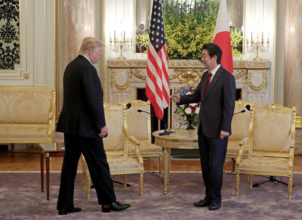 美國總統川普與日本首相安倍晉三,今年上午正式展開會談。  美聯社