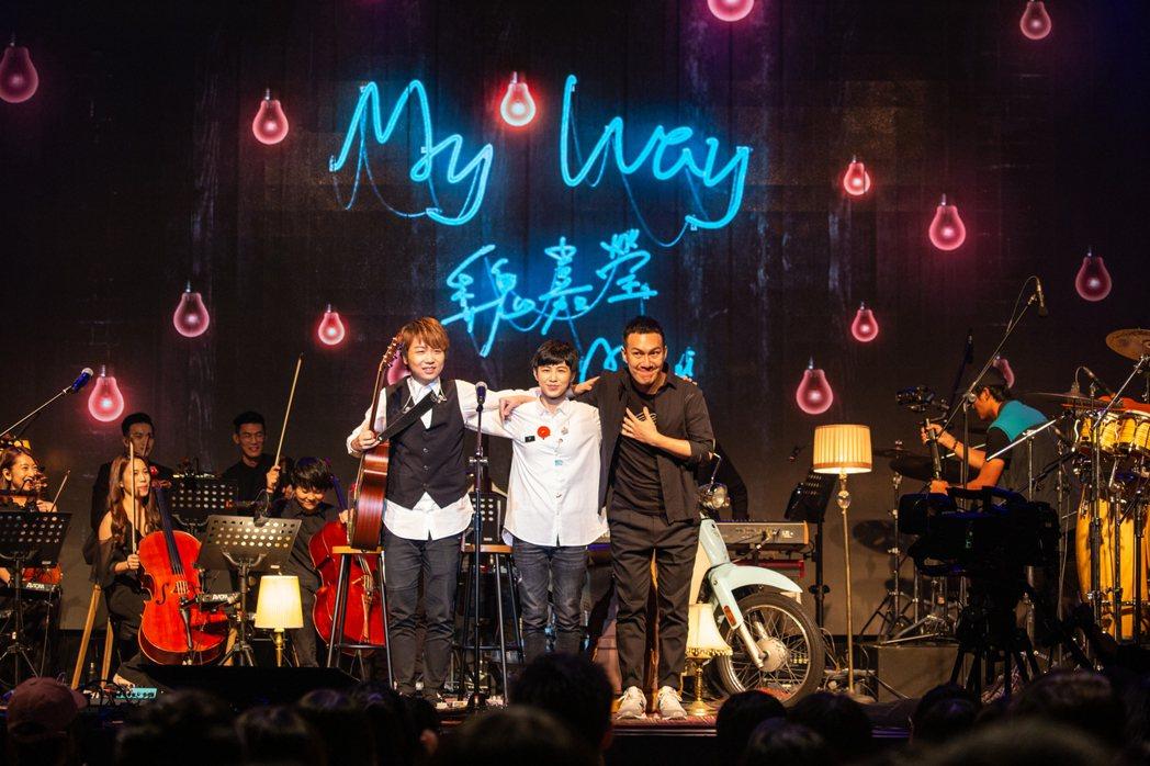 魏嘉瑩(中)和阿龔(右)、閔翔首度合作。圖/魏嘉瑩工作室提供
