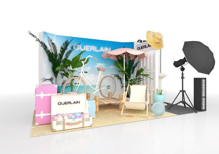 嬌蘭打造「跟著嬌蘭去旅行-幻彩流星夏季限定韓系證件照攝影棚」。圖/嬌蘭提供