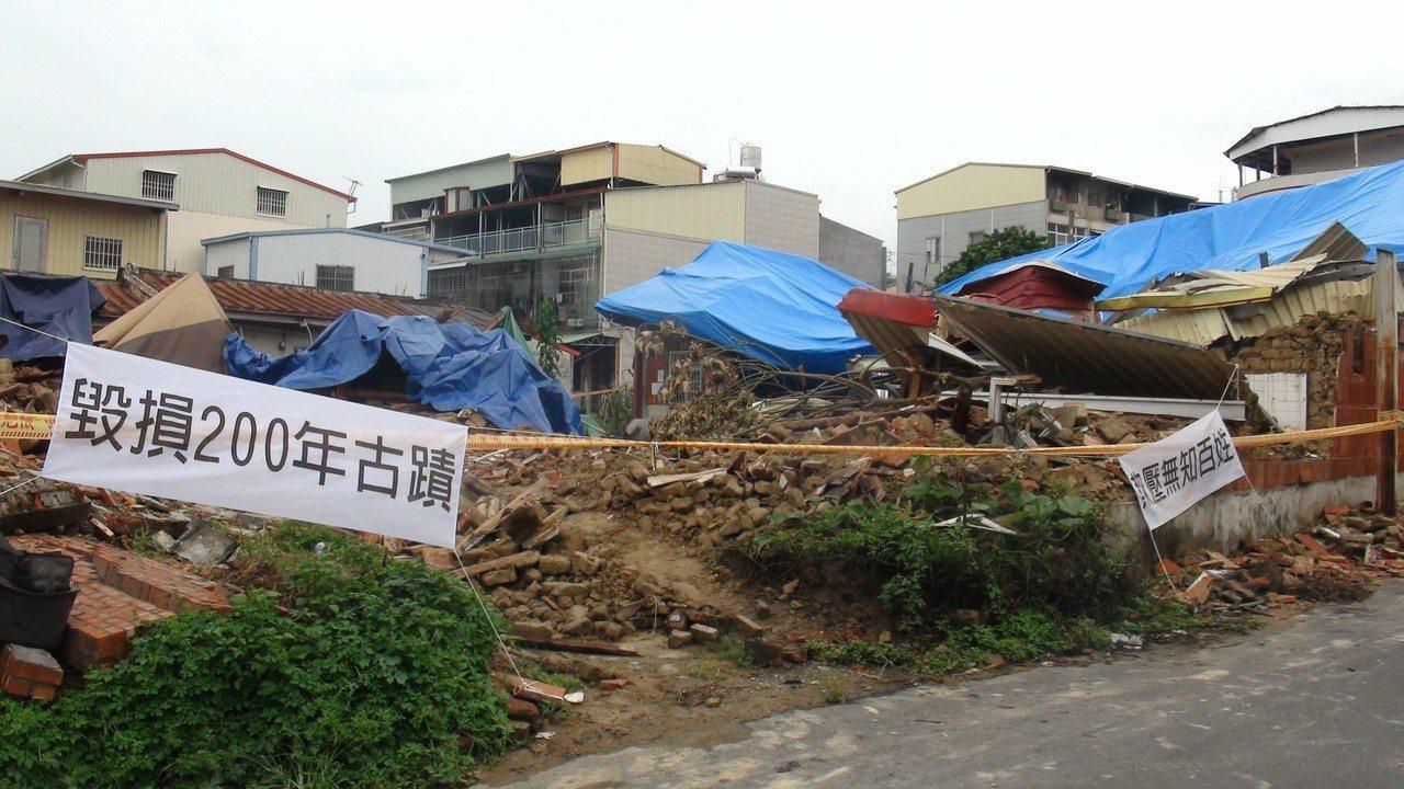日前突遭拆除的高雄仁武區「劉家古厝」,如今宛若廢墟。記者王昭月/攝影