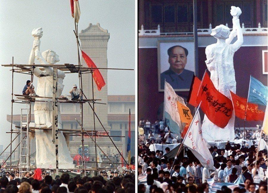 1989年5月30日,「民主女神像」在天安門廣場立起,和城門上的毛澤東像遙遙相望...