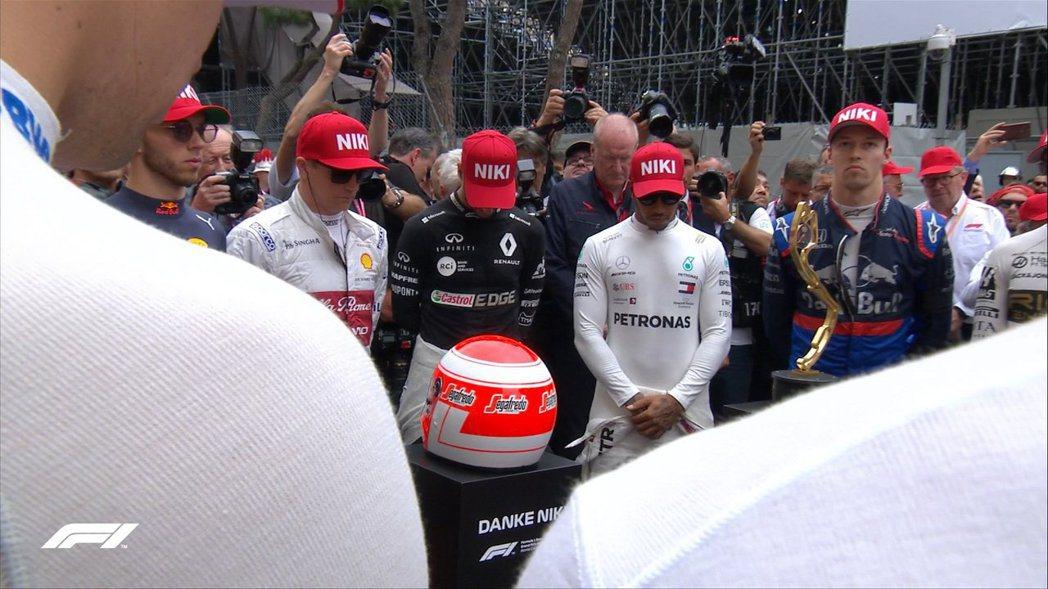 在開賽之前,F1也替Niki Lauda舉行了緬懷儀式。 摘自F1