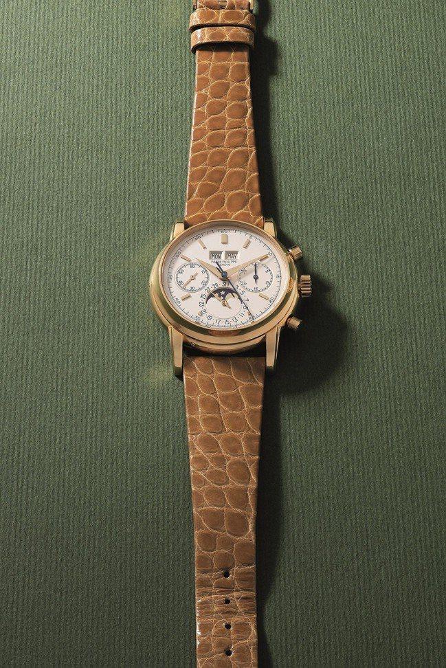 百達翡麗,型號2499/100,萬年曆、計時功能和月相顯示18K黃金腕表,約2,...
