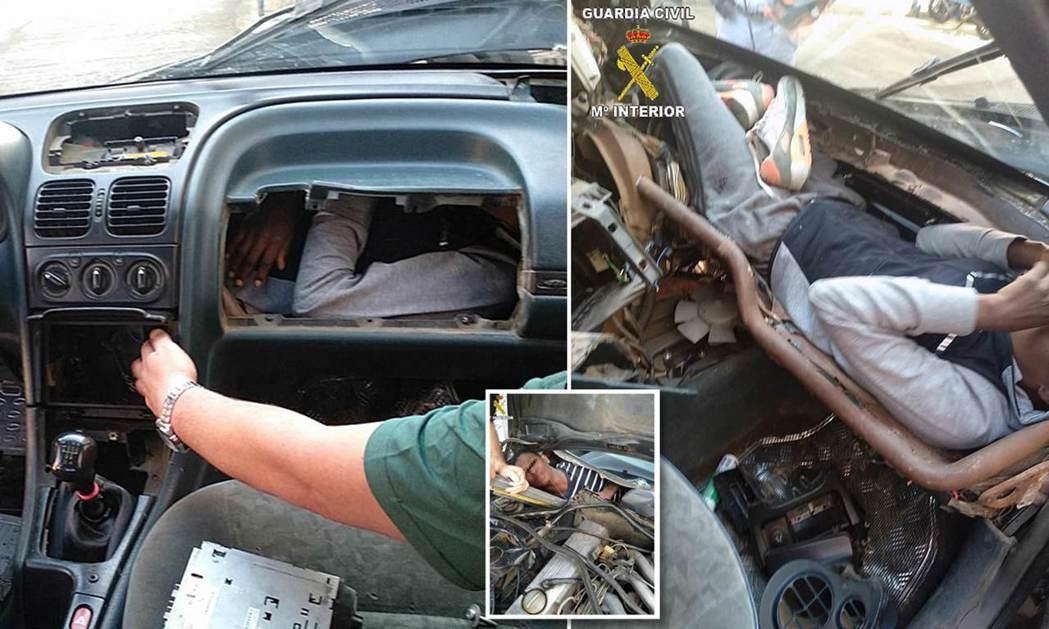 西班牙國民警衛隊24日拍攝的照片顯示,非洲人蜷縮在汽車儀表板後方狹小空間,企圖進...