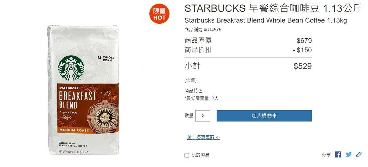 500元有找! 好市多星巴克咖啡豆促銷 網友:線上買更便宜