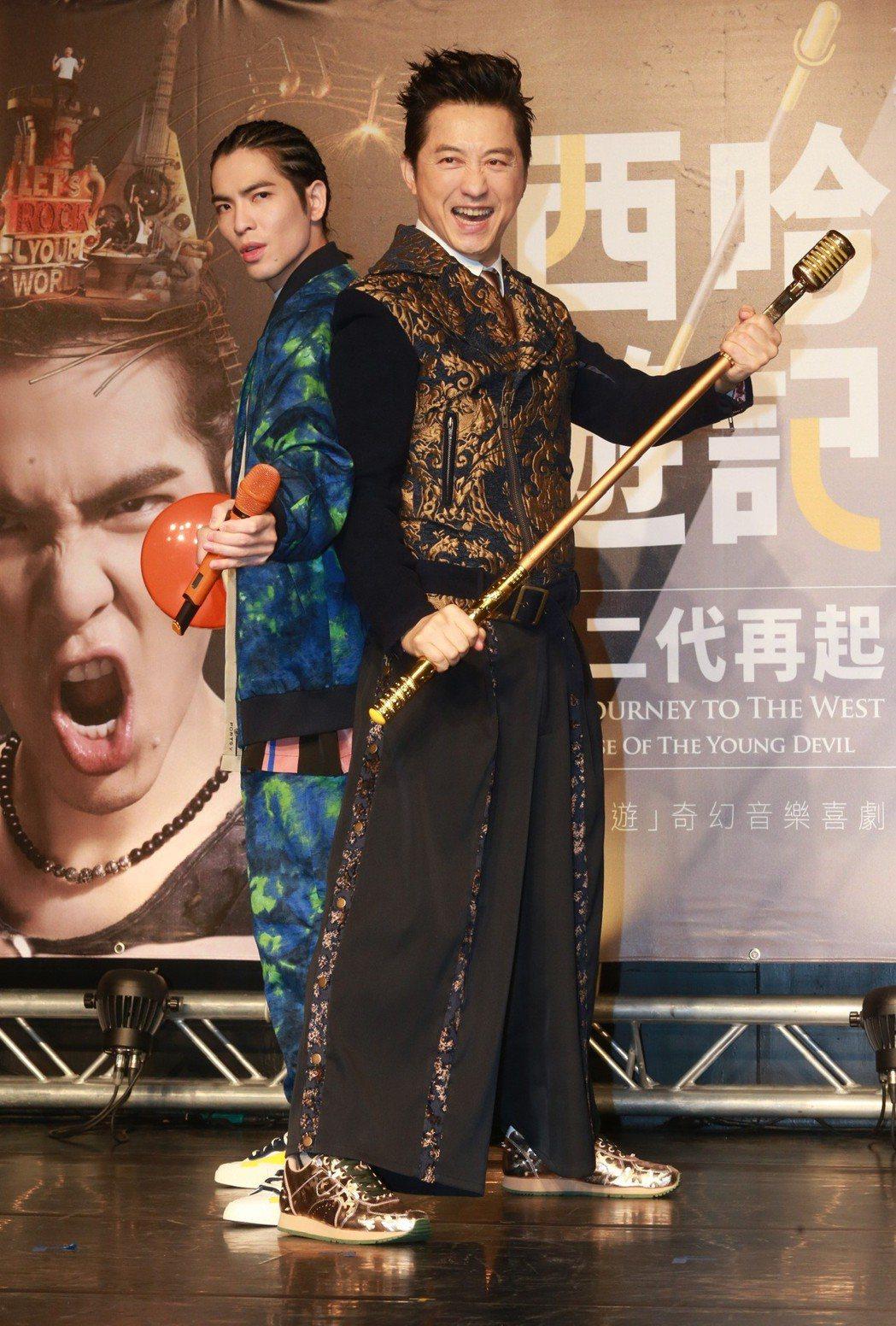 庾澄慶、蕭敬騰領銜主演的「後西遊」奇幻音樂喜劇「西哈遊記-魔二代再起」。記者黃義...