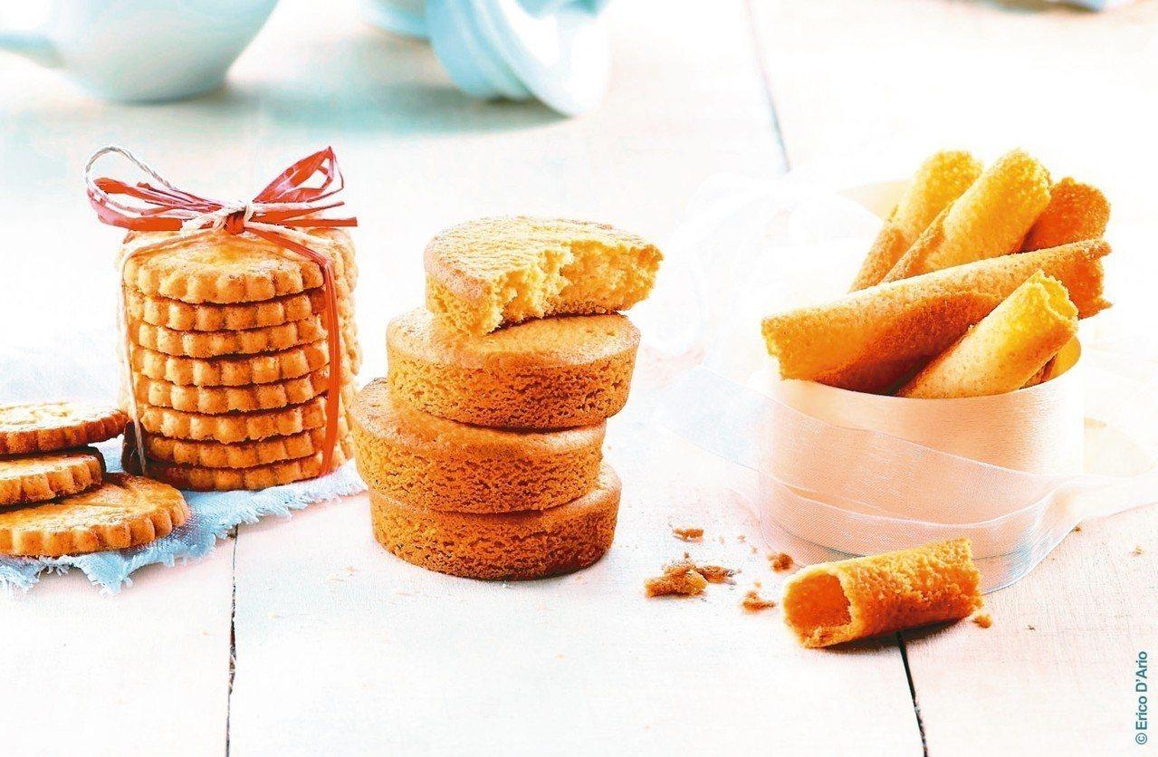 法國布列塔尼酥餅-原味薄片、厚片酥塔、層酥蛋捲。 圖/元立國際貿易提供