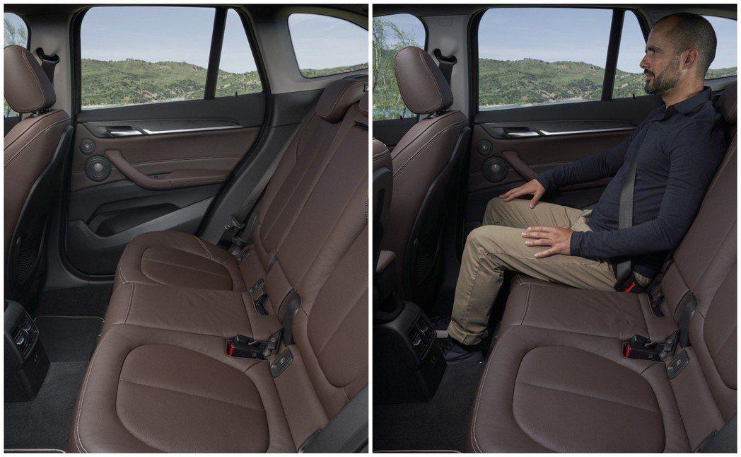 小改款BMW X1後座乘坐表現。 摘自BMW