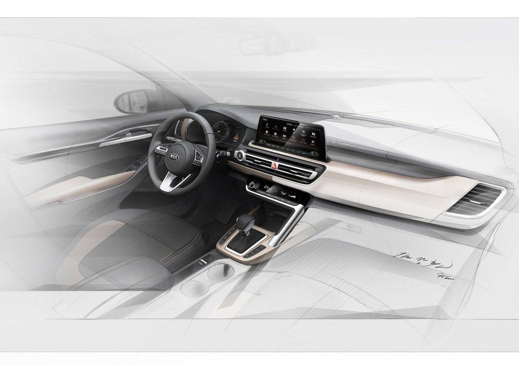 Kia全新小型休旅的內裝預告圖。 摘自Kia