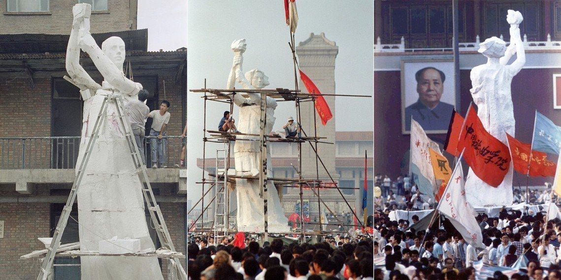 左圖為29日製作中的民主女神像(美聯社 Liu Heung Shing 攝影)、...