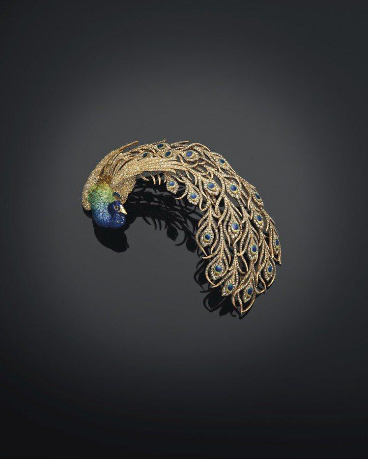 1905年Mellerio巴黎打造的鑽石及琺瑯羽飾,卡普塔拉王公珍藏。圖/佳士得...