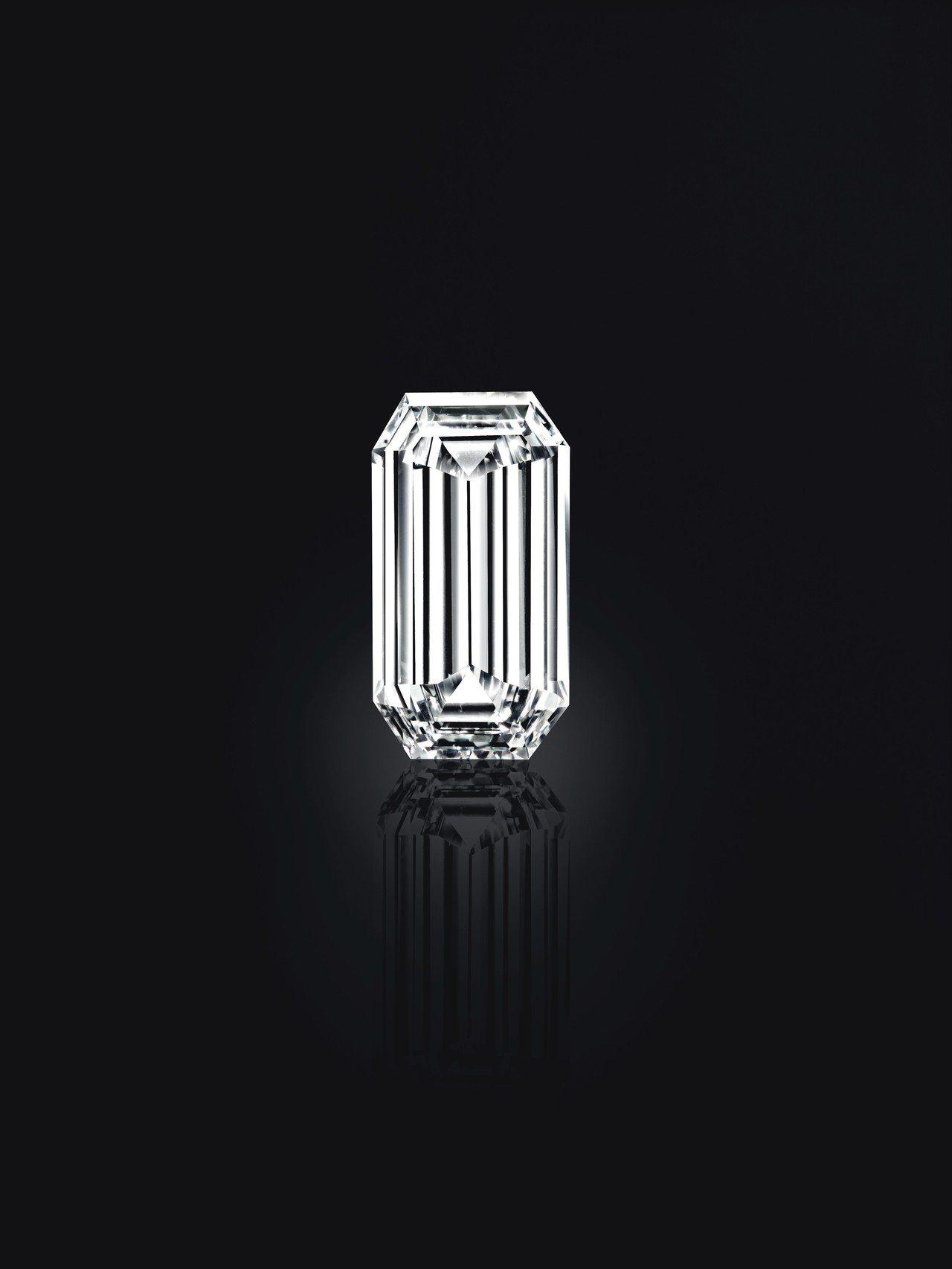 52.58 克拉的天堂之鏡鑽石,D色內部無瑕的戈爾康達鑽石。圖/佳士得提供
