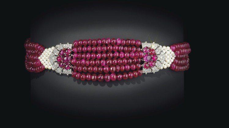 1931年巴黎卡地亞作品帕提亞拉紅寶石短項鍊,帕提亞拉王公珍藏,2012年由卡地...
